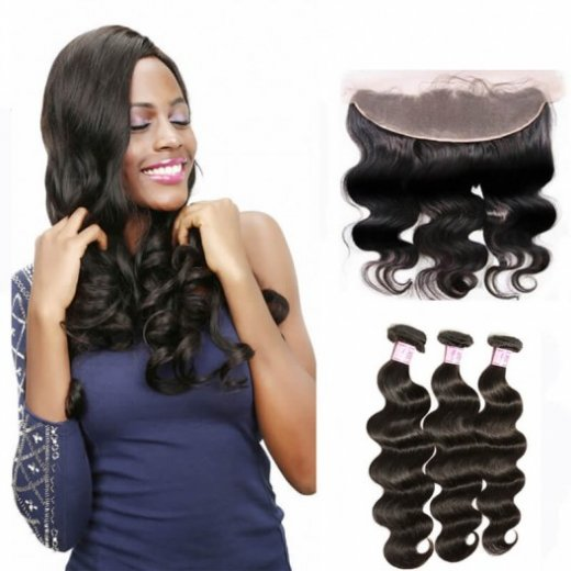 Indian Hair Lace Frontal Closure With 3Bundles Body Wave Weft Beautyhairs