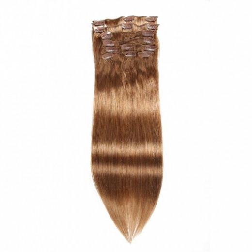 Straight Clip In Hair Brown 12# Remy Human Hair Extensions  Beautyhairs