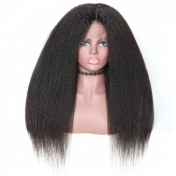 360 Lace Frontal Long Kinky Straight 150% Density Human Hair Wigs On Sale Beautyhairs