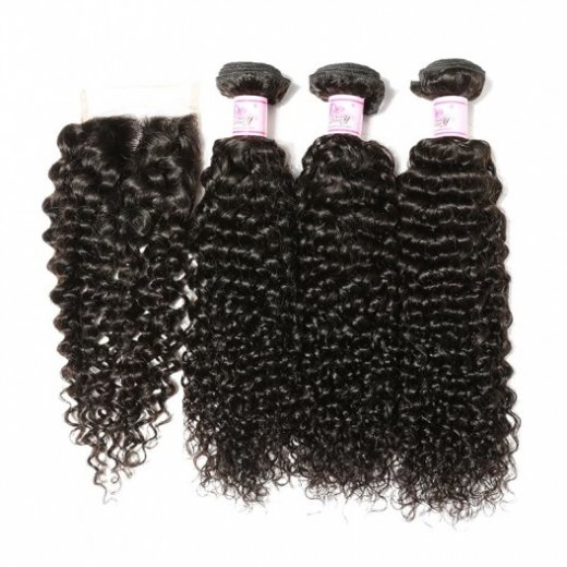 Indian Human Hair 4X4'' Jerry Curl 3Bundles With Lace Closure Beautyhairs