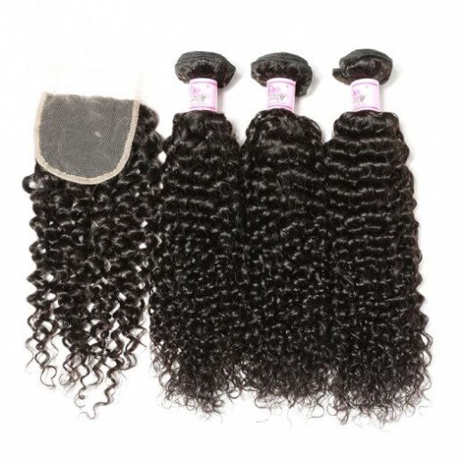 Human Hair 4Bundles With Curly Peruvian Lace Closure Beautyhairs
