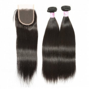 Indian Straight Virgin Hair With Lace Closure Natural Color Beautyhairs
