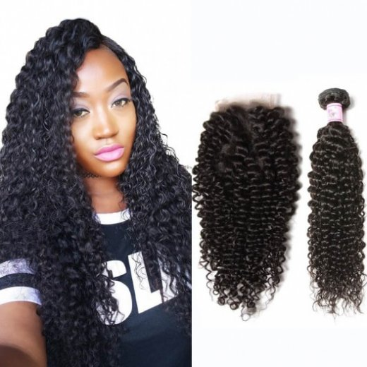 Best Curly Malaysian Virgin Hair 3Bundles With Lace Closure Beautyhairs