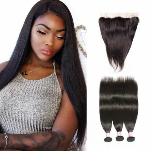 Brazilian Straight 13x4 Lace Frontal With Human Hair 3Bundles Beautyhairs