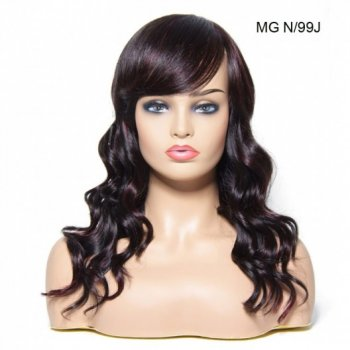 Natural Long Wavy Human Hair Wigs With Bangs 5 Colors Beautyhairs