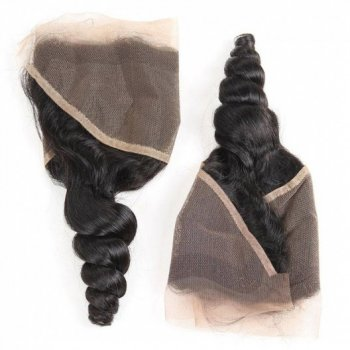 Peruvian Loose Wave 4 Bundles With Lace Frontal Free Part Closure Beautyhairs