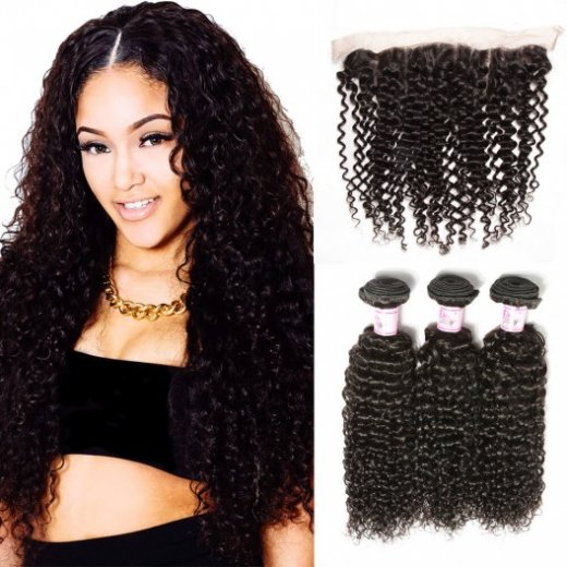 Lace Frontal Closure With 4Bundles Indian Jerry Curly Hair Beautyhairs