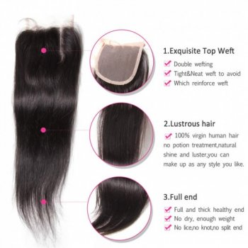 Malaysian Straight Lace Closure 4*4Inch With Human Hair 3Bundles Beautyhairs