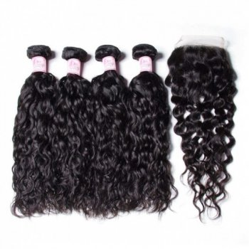 Water Wave 4 Bundle Deals With Closure 100% Indian Human Hair Beautyhairs