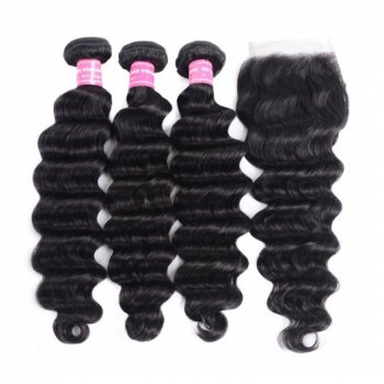 Brazilian 3Bundles Loose Deep Wave Hair With Lace Closure Beautyhairs