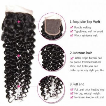 Indian Curly Lace Closure With Virgin Hair 4Bundles Beautyhairs