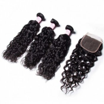 Water Wave 3 Bundles Hair Weave With Closure Indian Virgin Hair Beautyhairs