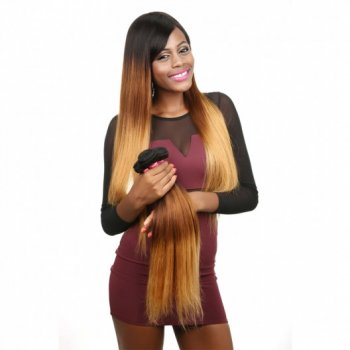 Indian Wavy Hair 4Bundles Ombre Straight Human Virgin Hair Beautyhairs