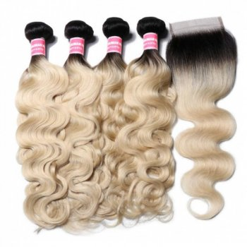 Body Wave 4*4 Lace Closure With 4 Bundles 1B/613 Color Beautyhairs