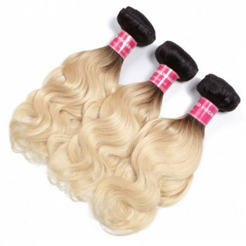 Body Wave Hair 3Bundles Ombre Human Hair Weave T1b/613 10-20Inch Beautyhairs