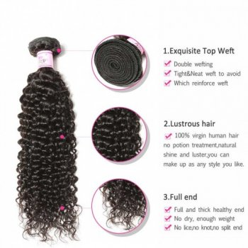 3Bundles/pack Indian Jerry Curly Virgin Human Hair Weave Beautyhairs