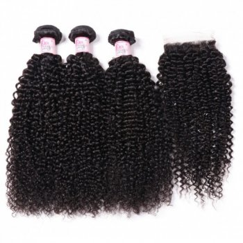 Kinky Curly Hair Closure With 3 Bundles Deals Best Virgin Hair Beautyhairs
