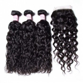 Malaysian Water Wave 3 Bundles With Lace Closure Unprocessed Virgin Hair Beautyhairs