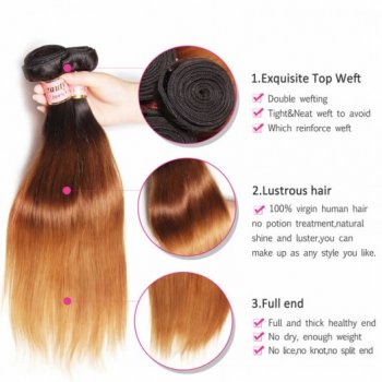 Unprocessed Peruvian Ombre Straight Human Hair 3 Bundles Beautyhairs