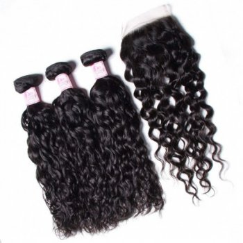 Water Wave Lace Closure With 3 Bundles Peruvian Human Hair Weave Beautyhairs