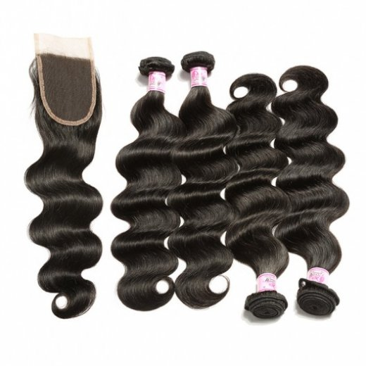 Brazilian Hair 4Bundles With Lace Closure Body Wave Hair Weft Beautyhairs