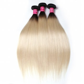 T1b/613 Color Ombre Straight Hair Weave 3 Bundles Virgin Human Hair Beautyhairs