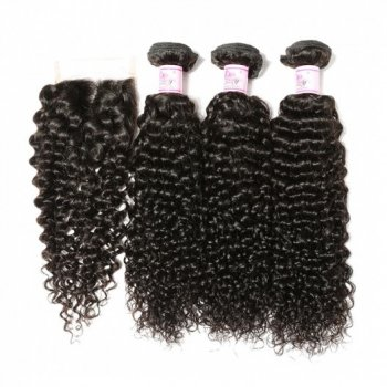 Malaysian Human Hair Curly 4Bundles With Closure Beautyhairs