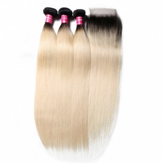1B/613 Blonde Ombre Color Straight Hair 3 Bundles With Lace Closure Beautyhairs