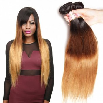 3Tones Ombre Straight Weaves Indian Virgin Hair 3Bundles Beautyhairs