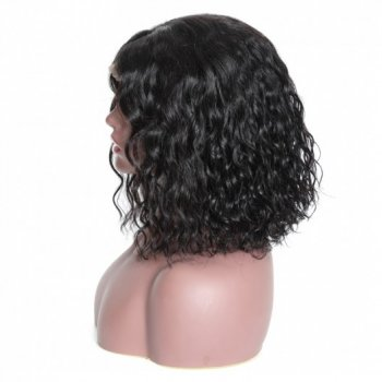180% Density Short Bob Human Hair Lace Front Wigs Water Wave Hair Beautyhairs