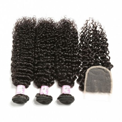 Peruvian Human Hair Curly 3Bundles With Closure Beautyhairs