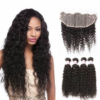 Brazilian Hair Lace Frontal Closure 13*4 With 4Bundles Jerry Curl Beautyhairs