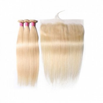 613 Blonde Straight Lace Frontal With 3 Bundles Deals Beautyhairs
