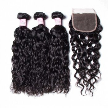 Brazilian Water Wave Sew In Weave 3 Bundles With Closure Beautyhairs