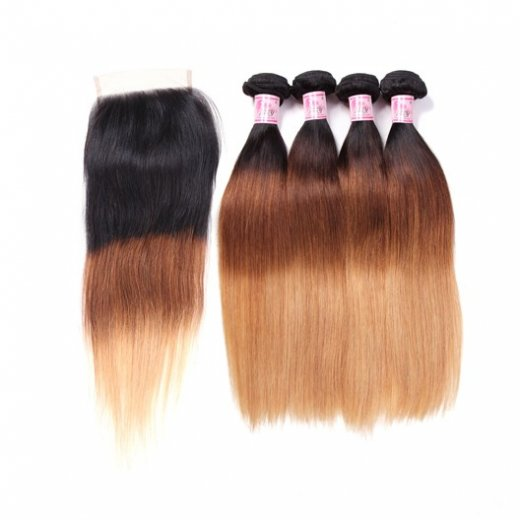 Ombre Straight Hair 1b/4/27 Color 4Bundles With Lace Closure Beautyhairs