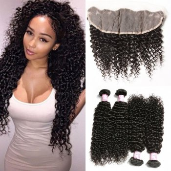 Malaysian Curly Hair Lace Frontal Closure With 4Bundles Beautyhairs