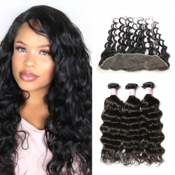 Best Lace Frontal With 3Bundles Natural Wave Human Hair Beautyhairs