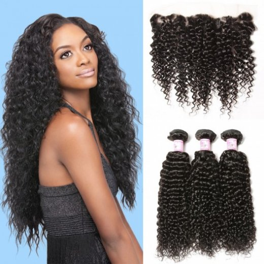 Peruvian Jerry Curly Hair 13*4 Lace Frontal Closure With 3Bundles Beautyhairs