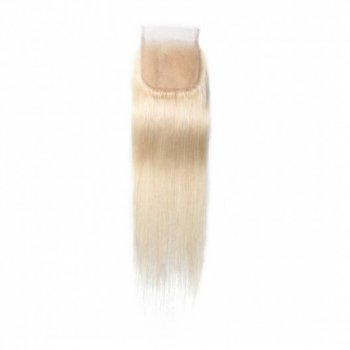 613 Blonde 4*4 Lace Closure Piece Long Straight Human Hair Beautyhairs