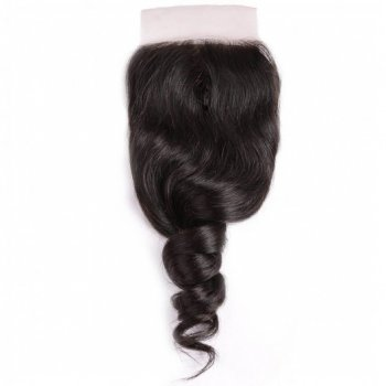 Loose Wave Human Virgin Hair 3Bundles With Lace Closure Natural Color Beautyhairs