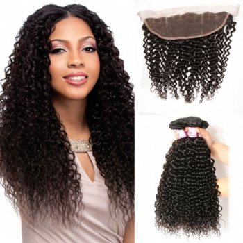 Indian Jerry Curly Frontal Closure With 3Bundles Virgin Hair Beautyhairs