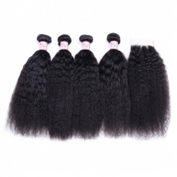 Kinky Straight 4 Bundles With Closure 4X4 Inch Raw Virgin Hair Beautyhairs