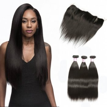 Indian Lace Frontal Closure with 3bundles Straight Hair Beautyhairs