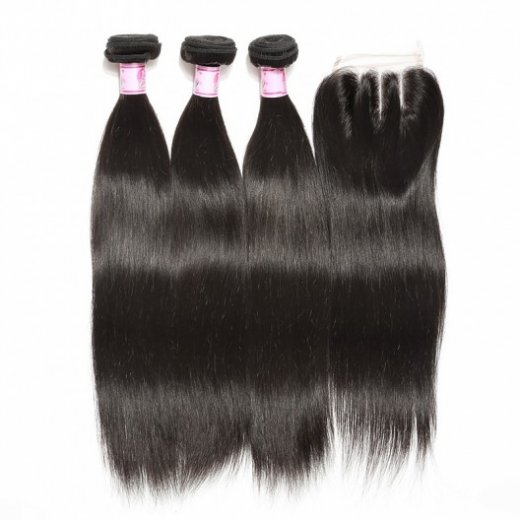 4Bundles Brazilian Straight Hair With Lace Closure 4*4 Beautyhairs