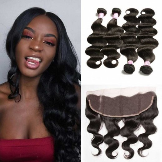 Hair 4Bundles with Lace Frontal Closure Indian Body Wave Beautyhairs