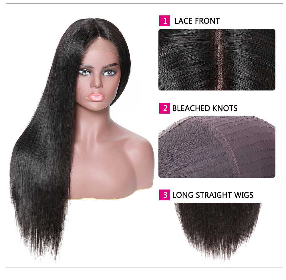 lace front long straight human hair wigs