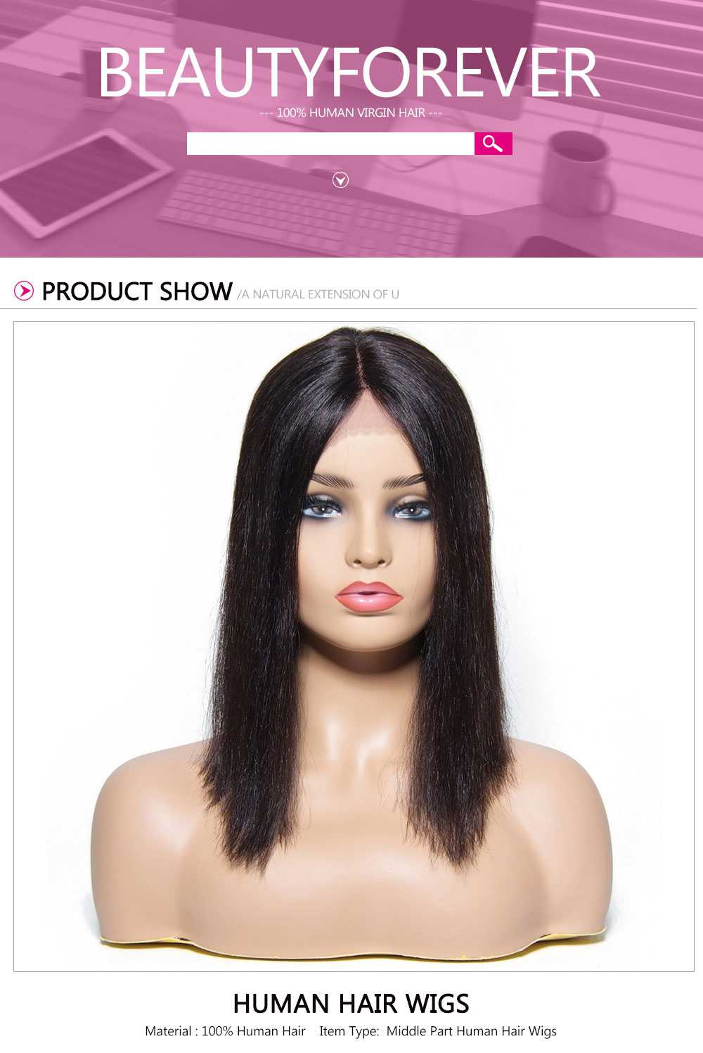 Blunt Cut Bob Wig For Women